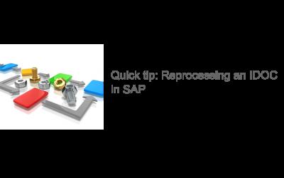 Reprocessing an IDOC in SAP