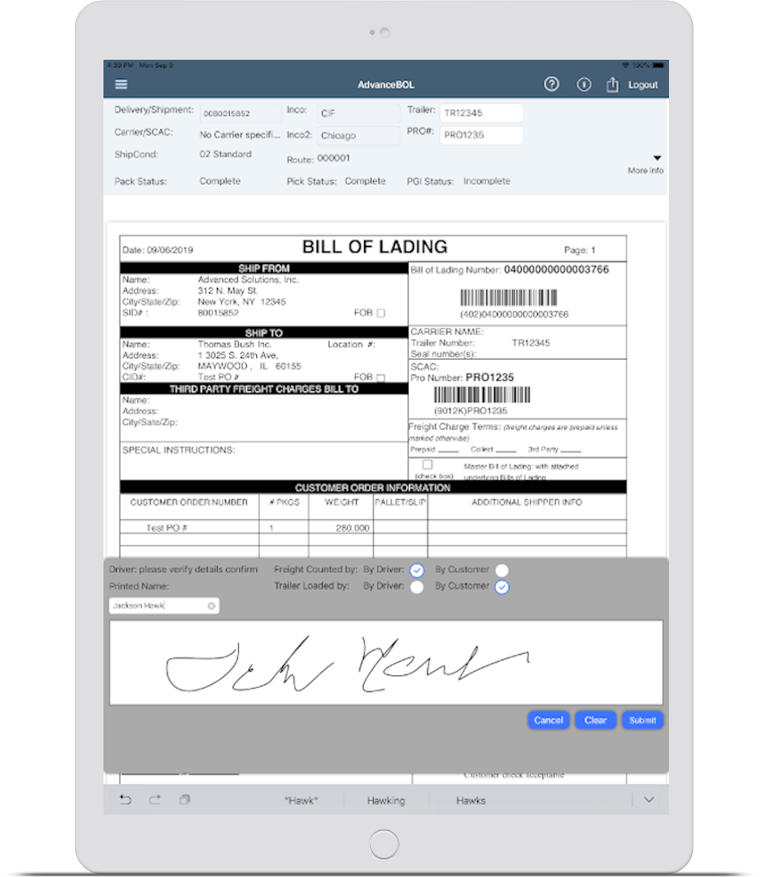 digital bill of lading app